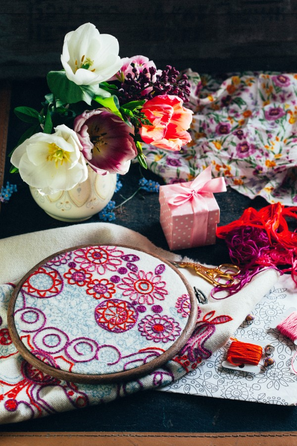 colorful embroidery with flowers
